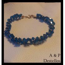 Pulsera Cristal Swarovski Azul Con Dorado Y Golfied (oro 14k