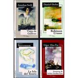 Acción Y Aventuras Lote X 4 Libros Poe Stevenson Defoe Swift