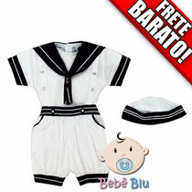 Conjunto Marinheiro Bebê Infantil Aniversário Festa Enxoval