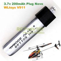 Bateria 200mah Plugue Novo Upgrade Helicoptero V911 Wltoys