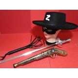 Fantasia Zorro Chicote Mascara Chapeu Espada E Arma