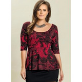 Blusa Plus Size Feminina ( Roupa Tamanhos Grandes ) Vermelho