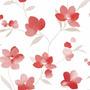 Papel Muresco Allegra Blanco Flores Rojo Lavable 73001