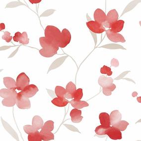 Papel Muresco Allegra 73001 Flores Rojo Blanco Gris