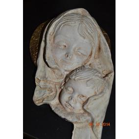 Virgen Maria Y Niño Colgar Cuadro En Yeso 22 Cm Cuarto Bebé