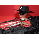 Zorro Capa Preta Espada Pistola Chicote Fantasia Infantil Ch