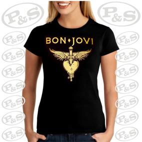 Camiseta Bandas Rock Bon Jovi Baby Look Estampa Dourada