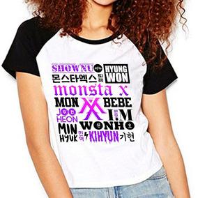 Camiseta Monsta X Membros Kpop Raglan Babylook C