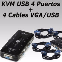 Switch Kvm 4 Puertos Usb Vga Maneja 4 Computadoras Con Cable