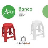 Banco Plastico Silla Blanco Rojo Multiuso Banquito