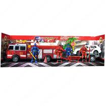 Set Camión De Bomberos + Auto Policías + Figuras