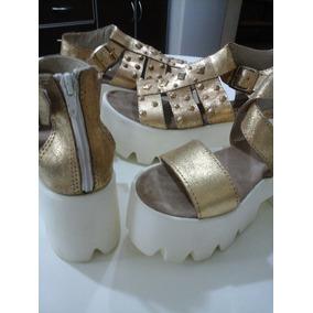 Sandalias Zapatos Plataformas Cuero Vacuno Nuevas Liquido!!!