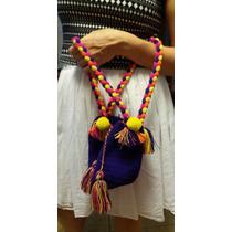 Bolsa Wayuu Pequena Roxa Pom Pom