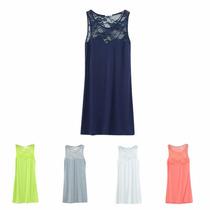 Vestido Mini Informal Azul Con Encaje - Nuevo - Importado