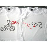 2 Camiseta Para Casal Namorados Bicicleta Com Corações