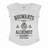 Blusinha Feminina Em Tecido Flamê - Hogwarts Harry Potter