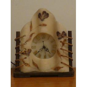 Reloj De Cera/madera,mesa/escritorio,a Pila,artesanal,c/luz