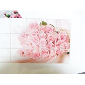 Buque Cor De Rosa 75x45cm Cozinha Adesivo Geladeira Azulejo