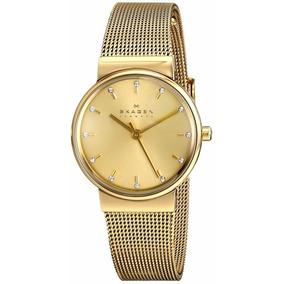 Relógio Feminino Skagen Dourado Fundo Champagne Fino Skw2196