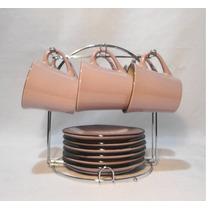 Set X 6 Tazas De Té Y Plato Cerámica Con Rack Metálico