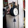 Reloj Doble Faz Metalico Funcionando Diseño Antiguo Campana