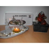 Fuente De Agua Feng Shui C/ Luz Y Esfera + Jardin Zen