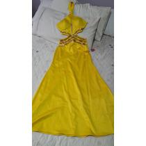 Maravilhoso Vestido De Festa Longo Amarelo Morena Rosa