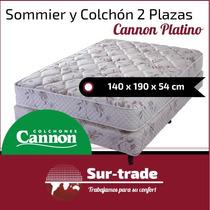 Sommier Colchon Cannon Platino 2 Plazas+2 Almohadas+cubre