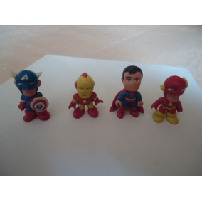 4 Figuras Marvel Dc De Resina Epoxica Superman Iron Man