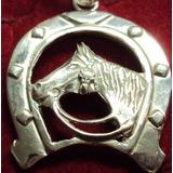 Pingente De Prata Maciça 925 Ferradura Com Cavalo.