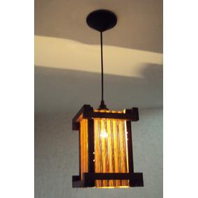 Lustre De Teto Japonês Rustico Com Tela Bambu C Pendente