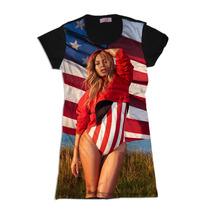 Vestido Camisetão Feminino Beyonce Bandeira Usa Swag