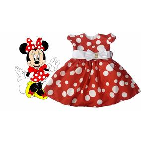 Vestido Minnie Infantil Branco Vermelho Bolinhas Brancas.