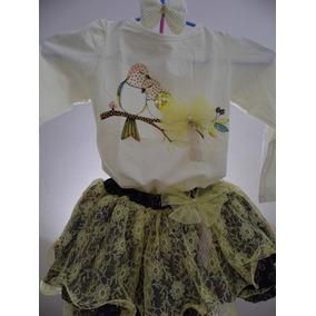 Conjunto Infantil Menina Inverno Luxo Saia Blusa 3 E 4 Anos