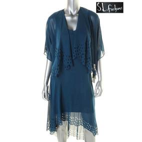 Vestido 8 De 2 Pz Desnivel Largo Azul Saco Conjunto Hermoso!
