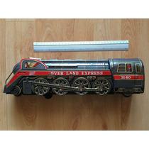 Locomotora Tren Over Land Express Lámina Baterías Funciona .