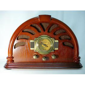 Antigo Rádio Am / Fm Retro Caixa De Madeira Bela Decoração