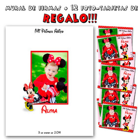 Minnie Mural Firmas 40x50 Cm Madera +12 Foto Tarjetas Regalo