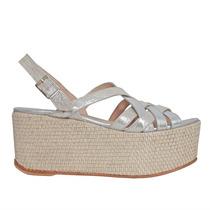Sandalias De Cuero Cruzadas Con Plataforma. Zapatos De Novia