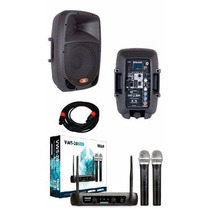 Kit Caixas De Som Ativa + Passiva Dr808 + Microfone Sem Fio