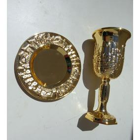 Taça De Vinho Dourada Judaico Toda Trabalhada !!!