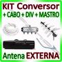 Kit Conversor Tv Digital + Cabo + Antena + Mastro + Divisor