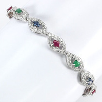 Rubi,esmeralda,safira Africanos-pulseira Prata 925- F Grátis