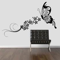 Adesivo Decorativo Parede Borboleta Floral Flores Faixa