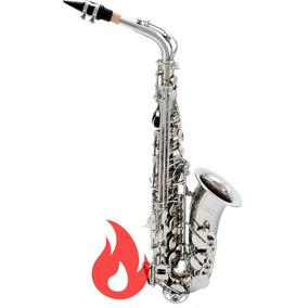 Saxofone Alto Cromado Niquelado Custom Eb Mib + Estojo Loja