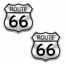 Sticker - Calcomania - Vinil - Emblema Ruta 66 Cromo Par