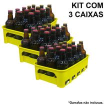 Kit 3 Caixas Engradado Cerveja 300ml P/ 15 Garrafas Amarela