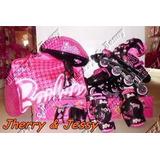 Patins Roller Barbie 32 Ao 35 Ajustáveis Com Kit Prote Bolsa