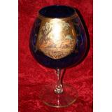 Antigua Copa Cristal Azul Cortejo Pintura Oro Florenzia