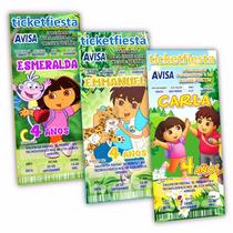 50 Invitaciones Impresas Dora Y Diego Go ¡en Oferta!